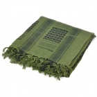 Outdoor Sports Cotton Tassel Shawl Scarf - Army Green + Black (Thicken Pattern)