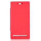 NILLKIN Protective PU Leather Case w/ Screen Protector for Sony LT26i - Deep Red