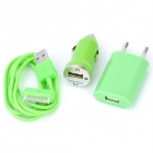 Car Charging Adapter Charger + EU Plug AC Charger + USB Cable for iPhone 4 / 4S - Green (3 Pieces)
