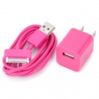 AC Charging Adapter Charger + USB Cable for iPhone 4 / 4S - Purple (US Plug / 2 Pieces)