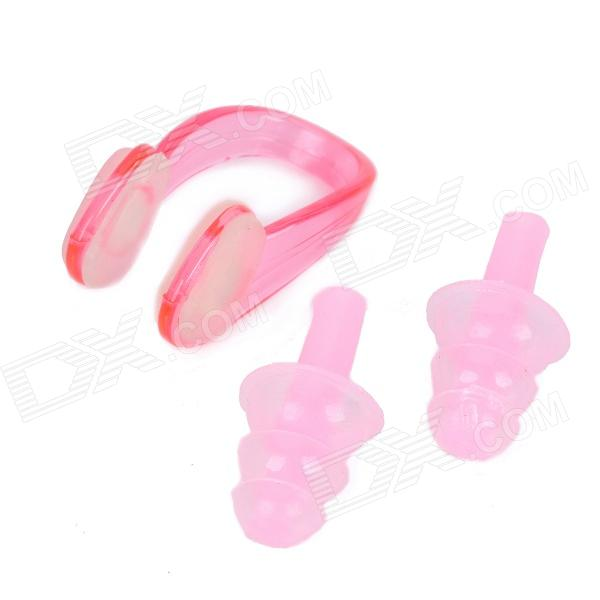 Silicone Swimming Ear Plugs & Nose Clip - Pink