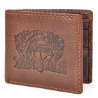 New Lakers Logo Pattern Genuine Leather Wallet Purse - Brown