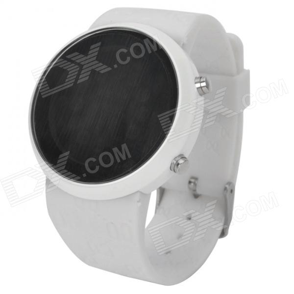Fashion Mirror Dial Circular Blue LED Wrist Watch - White (2 x CR2016)