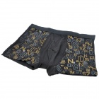 Men's Soft Bamboo Charcoal Fiber Anion Energy Boxer Brief Underwear Pants - Black (Size-M)