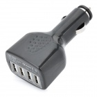 4-Port USB Car Cigarette Lighter Power Adapter / Charger - Black (DC 12V)