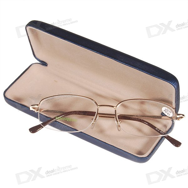 Alloy Frame Reading Glasses with Hard Protective Case (+2.50D)