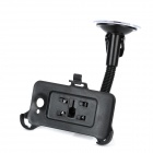 Car Swivel Suction Cup Mount Holder w/ Car Charger for HTC ONE X / S720e - Black