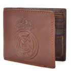 New Real Madrid Logo Pattern Genuine Leather Wallet Purse - Brown