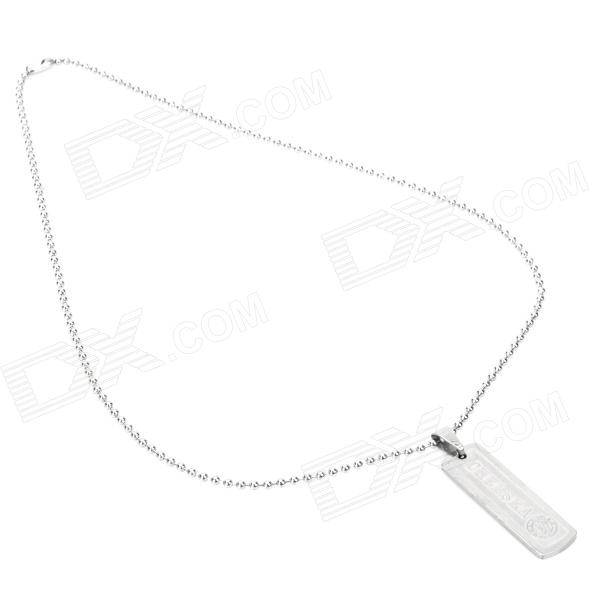 New Rectangle Manchester Logo & Words Style Alloy Pendant Necklace