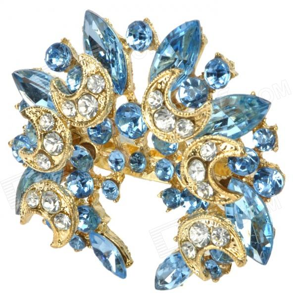 Fashion Bling Rhinestone Embellish with Crescent Style Brooch Pin - Blue + Golden