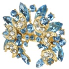 Fashion Strass Bling mit Crescent Stil Brosche Pin Verschönern - Blue + Golden