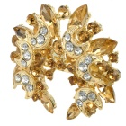 Fashion Bling Rhinestone Embellish with Crescent Style Brooch Pin - Golden + White