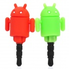 Cute Android Robot Style Anti-Dust Plug for 3.5mm Audio Jack - Red + Green (Pair)