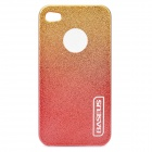 Stylish Protective Plastic Back Case with Screen Protector for Iphone 4 / 4S - Golden + Orange