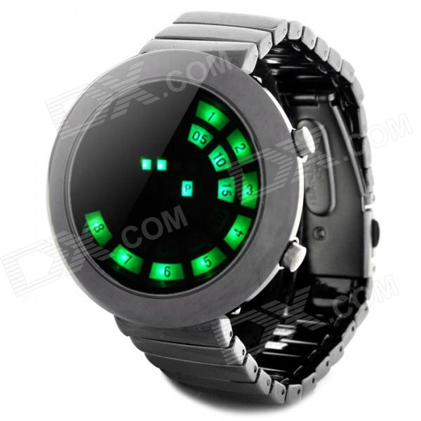 Stylish Stainless Steel Band Round Dial Green LED Wrist Watch - Black Silver (2 x CR2016) fashion stainless steel red yellow led water resistant wrist watch black 2 x cr2016