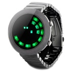 Stylish Stainless Steel Band Round Dial Green LED Wrist Watch - Black Silver (2 x CR2016)