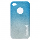Stylish Protective Plastic Back Case with Screen Protector for Iphone 4 / 4S - Blue + Silver