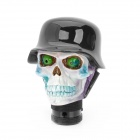 Cool Skull in Hat Style Resin Car Gear Shift Knob - White + Black