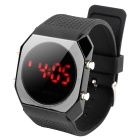 Concise Silicone Jelly Band Round Dial Red LED Wrist Watch - Black (1 x CR2032)