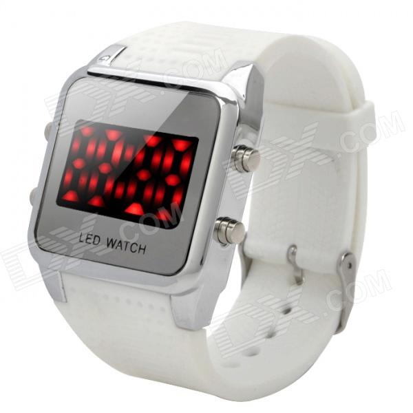 Concise Dial Silicone Band Red LED Digital Wrist Watch - White (1 x CR2032)