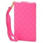 Wallet Style Protective PU Leather Case for iPhone 4 / 4S - Deep Pink