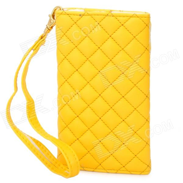 Wallet Style Protective PU Leather Case for Iphone 4 / 4S - Yellow кошелек leather pu 2015 d108 wallet