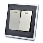 Smeong Mirror Panel 2-jengi Wall Mount Light Button Switch Plate Cover - musta + hopea