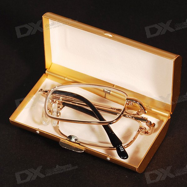 Alloy Frame Folding Reading Glasses with Hard Protective Case (+4.00D)