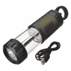 Hand-Crank / USB Rechargeable 5-LED + 12-LED 42LM 8-Mode Dynamo Camping Lantern Lamp - Black