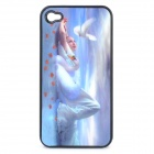 Protective Plastic Back Case with 3D Graphic for Iphone 4 / 4S - Lady of the Lake + Swan Pattern