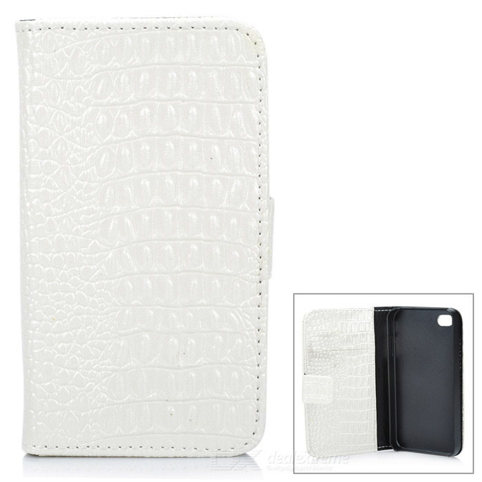 Protective PU Leather Case for Iphone 4 / 4S - White protective pu leather pouch bag for iphone 5 4 4s coffee