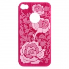 Stylish Flower Pattern Protective Aluminum Alloy Back Case for iPhone 4 / 4S - Deep Pink