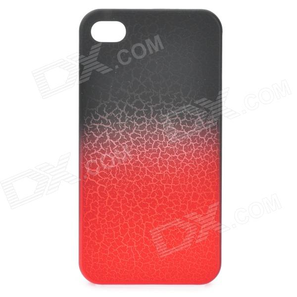 Cool Crack Style Protective Plastic Back Case for Iphone 4 / 4S - Black + Red wc king cool man relief style protective pc back case for iphone 4 iphone 4s black