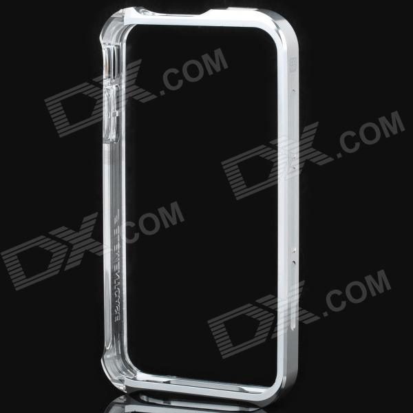 Protective Bumper Frame with Screen + Back Protector Film Set for iPhone 4 / 4S - Silver