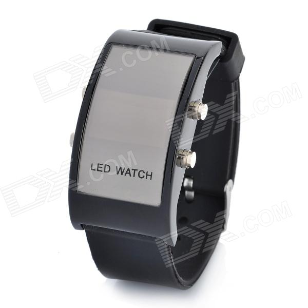Fashion Silicone Band Red Light LED Digital Wrist Watch - Black (1 x CR2032)
