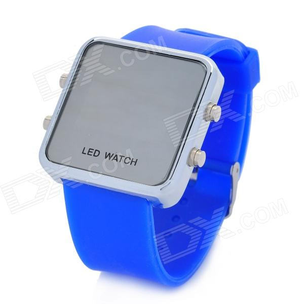 Fashion Silicone Band Red Light LED Digital Wrist Watch - Silver + Blue (1 x CR2032)
