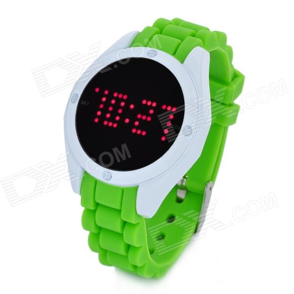 Fashion Touch Screen Silicone Band Red Light LED Digital Wrist Watch - Green (1 x CR2032) silicone band red led digital wrist watch blue 1 x cr2032