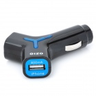 "OZIO ""Y"" Shaped Car Cigarette Powered Adapter Charger w/ Dual USB Output - Black + Blue"