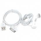 Stylish Earphone with Microphone + USB Data/Charging Cable for iPhone / iPad - White