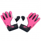 Outdoor Sports Anti-Slip Full-Finger Gloves - Pink + Grey (Pair)