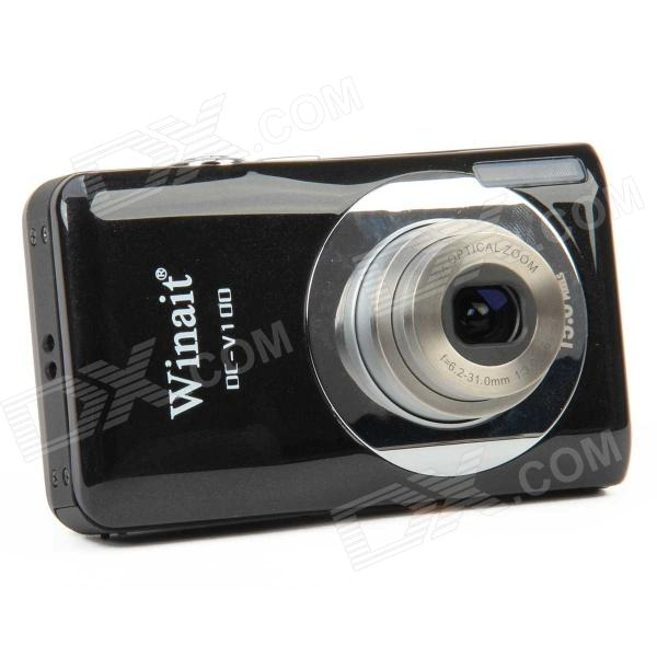 DC-V100 5.0MP CMOS Digital Video Camera w/ 5X Optical Zoom / SD - Black (2.7 LCD) 5 0mp digital video camcorder w 4x digital zoom motion detection hdmi sd slot 2 5 tft lcd