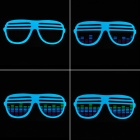 Sound and Music Activated Velcro Glasses EL Visualizer T-shirt - Black (Size-L/4 x AAA)