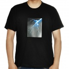 Sound and Music Activated Velcro Lightning EL Visualizer T-shirt - Black (Size-L/4 x AAA)