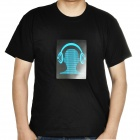 Sound and Music Activated Velcro Blue Headset EL Visualizer T-shirt - Black (Size-L/4 x AAA)