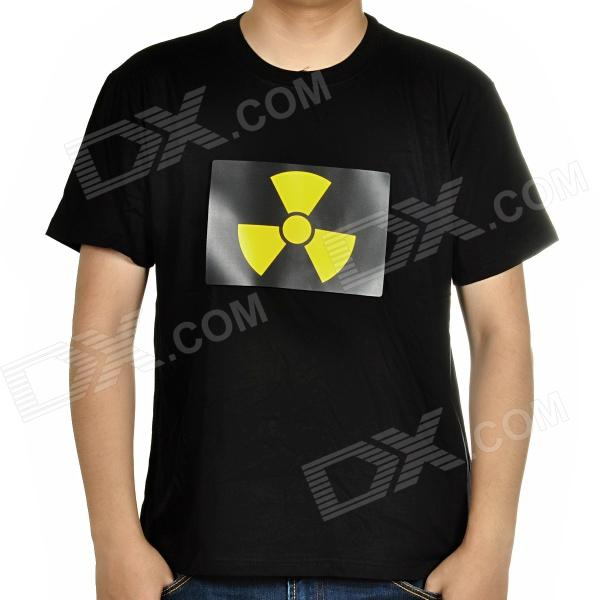 Sound and Music Activated Velcro Radioactive Symbol EL Visualizer T-shirt - Black (Size-L/4 x AAA)
