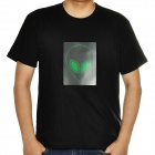 Sound and Music Activated Velcro Alien EL Visualizer T-shirt - Black (Size-L/4 x AAA)