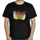 Sound and Music Activated Velcro Spectrum VU Meter EL Visualizer T-shirt - Black (Size-L/4 x AAA)