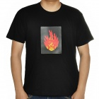 Sound and Music Activated Velcro Holy Flame EL Visualizer T-shirt - Black (Size-L/4 x AAA)