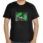 Sound and Music Activated Velcro WiFi Signal EL Visualizer T-shirt - Black (Size-L/4 x AAA)
