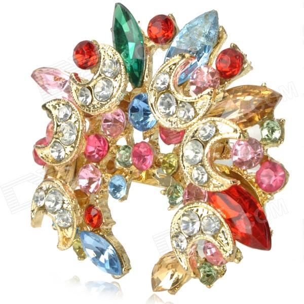 Fashion Colorful Bling Rhinestone Embellish with Crescent Style Brooch Pin